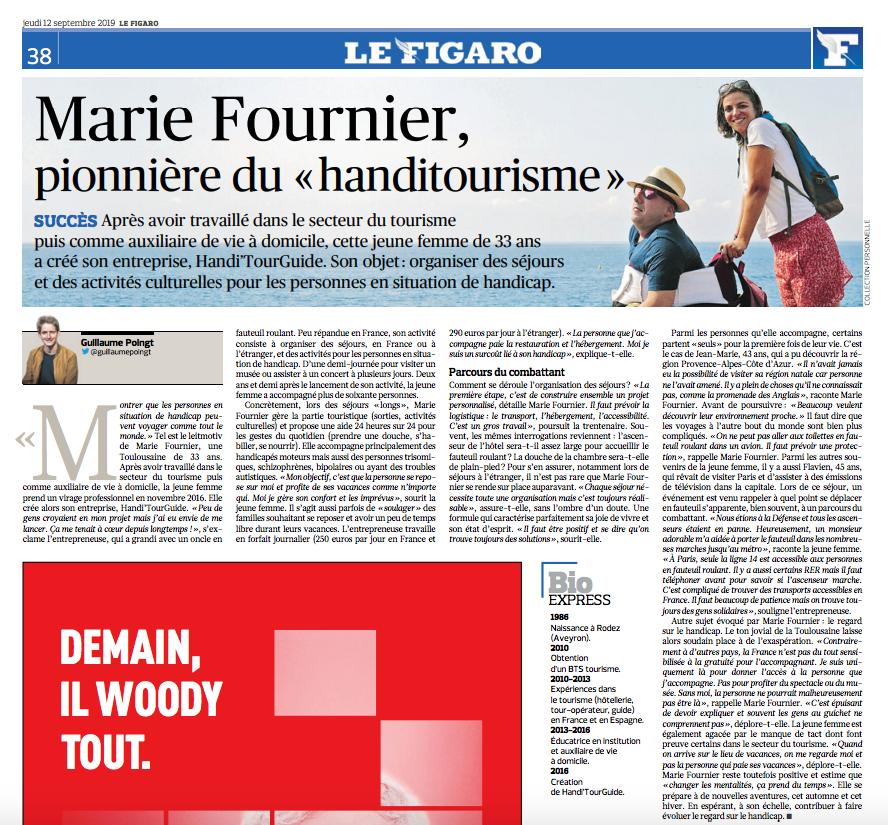 Handi'TourGuide dans le Figaro - pionniére du Handitourisme