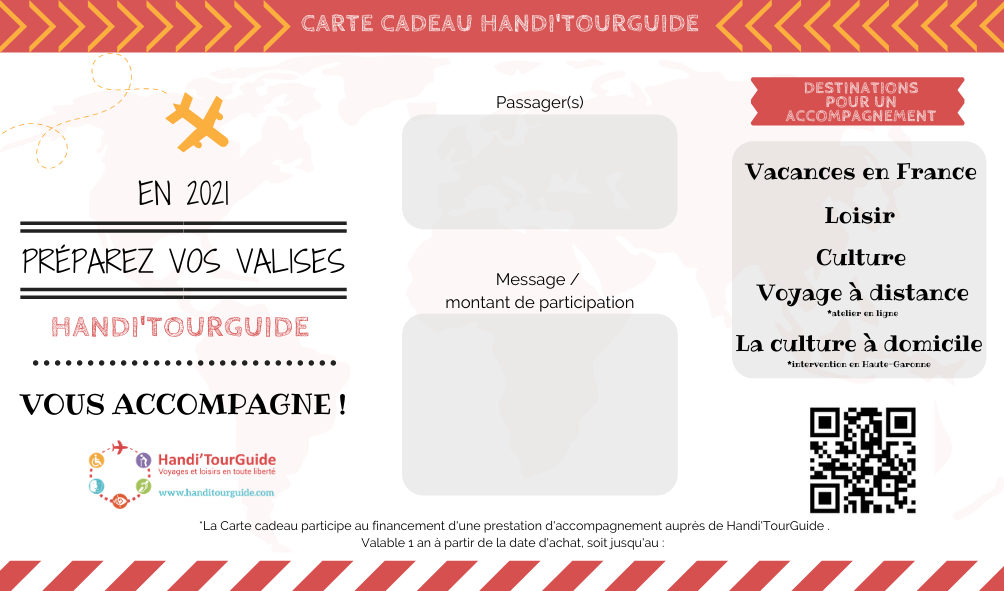 Carte cadeau Handicap - Sénior - Voyage - Loisir - Culture Handi'TourGuide