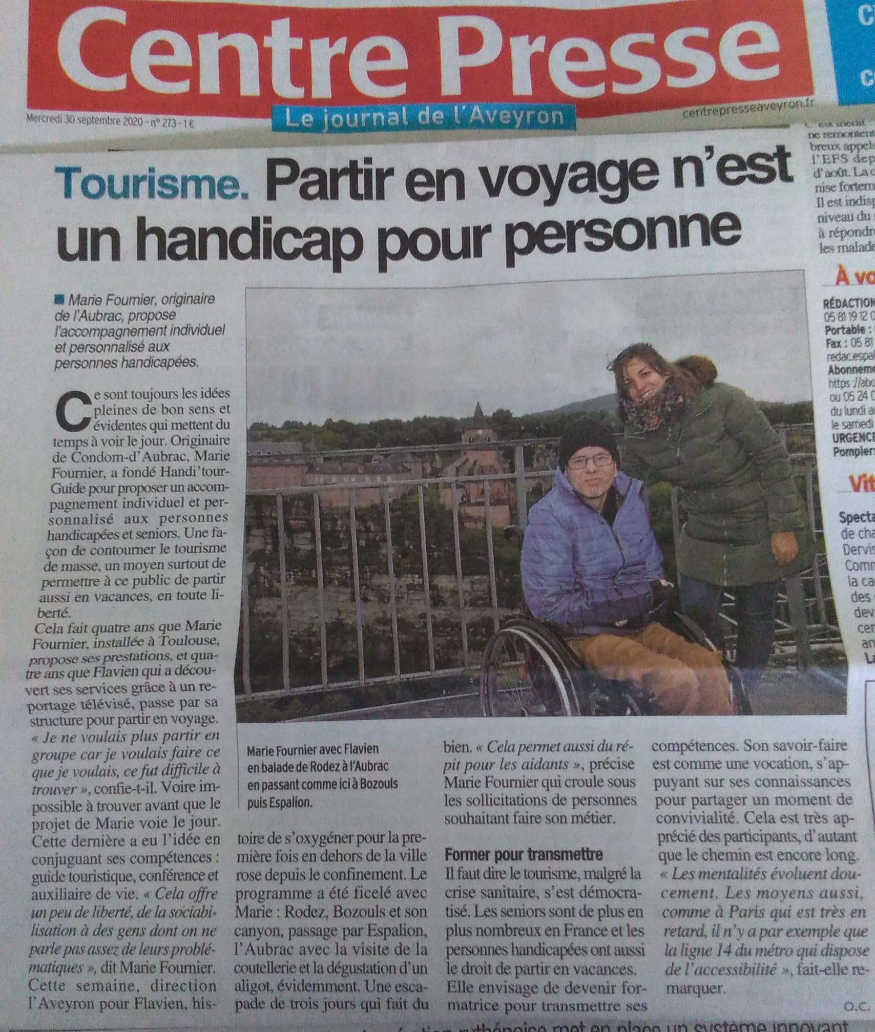 Article de presse Handi'TourGuide accompagnatrice voyage et loisir Handicap