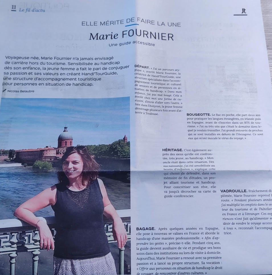 Article de presse le journal Toulousain Marie Fournier guide accessible Handi'TourGuide