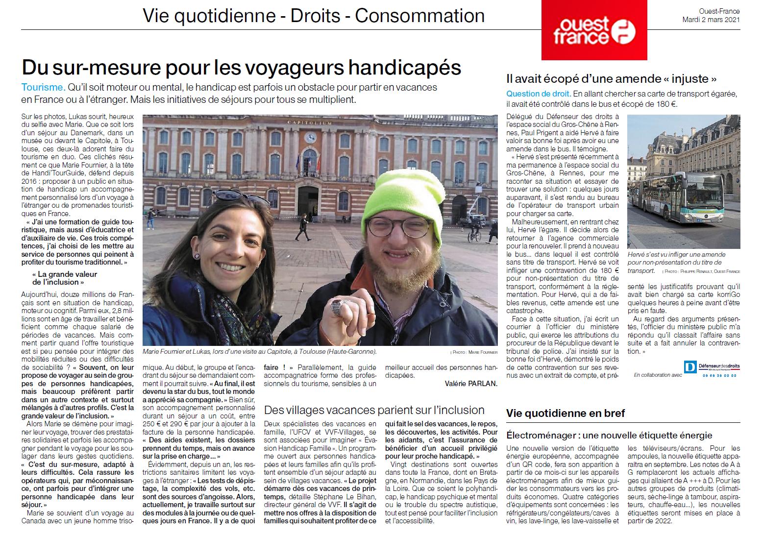 Handi'TourGuide article de presse Ouest France. Voyage - Handicap